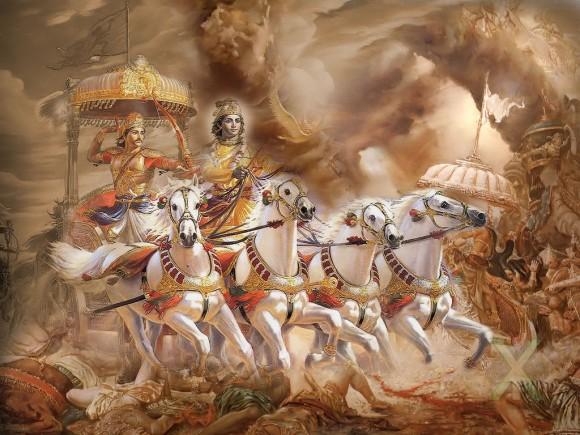 Krisna dan arjuna saat perang Bharatayudha