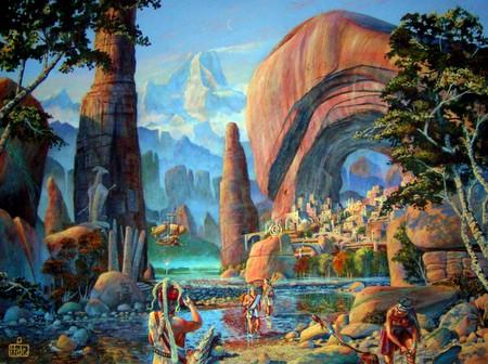 Peradaban Atlantis diilustrasikan sangat maju.