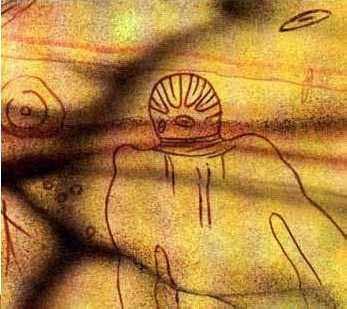"""Artifak """"Great Martian Gods"""" yang ditemukan di bukit Tassili."""