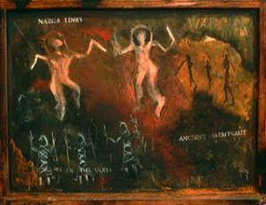 artifak peninggalan nenek moyang manusia ribuan tahun di goa pra-sejarah di Val Comonica, Italy