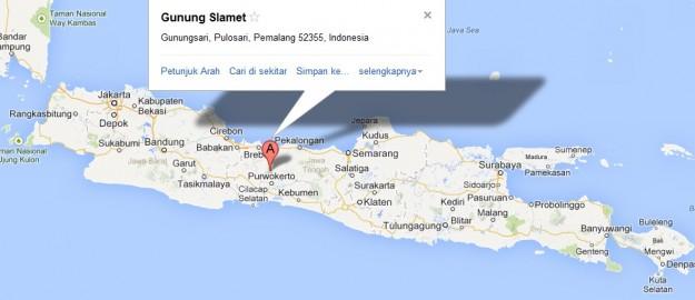 Peta Lokasi Gunung Slamet