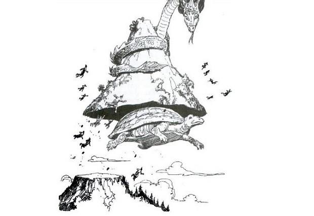 Ilustrasi Dewa Memindahkan Mahameru dari India ke Jawa