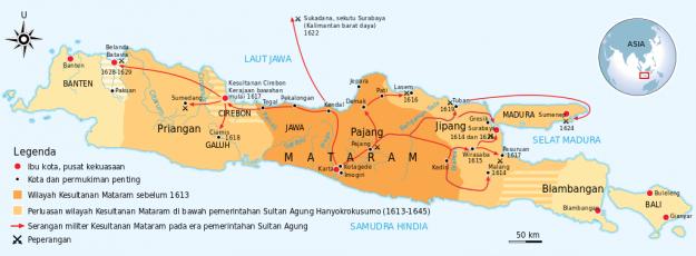 Peta Kekuasaan Kerajaan Mataram Islam