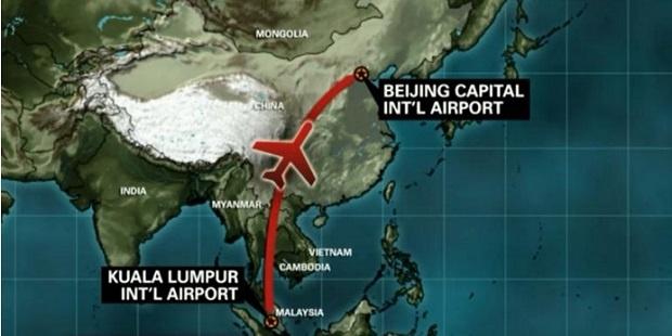 Rute penerbangan Malaysia Airlines yang hilang, Sabtu 8 Maret 2014 lalu