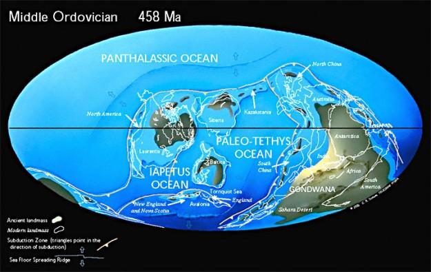 Pertengahan Ordovisium (458 Mya)