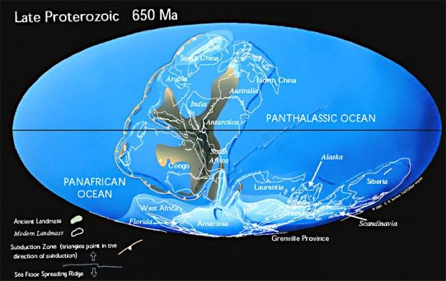 Gambaran benua pada 650 juta tahun lalu